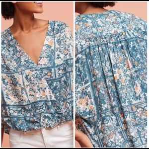 ANTHROPOLOGIE MAEVE Blue Gianna Floral Top Size M